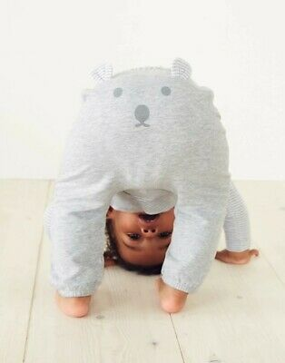 The Little White Company Boys Striped Top & Bear Face Jogger Set Age 6-9 Months