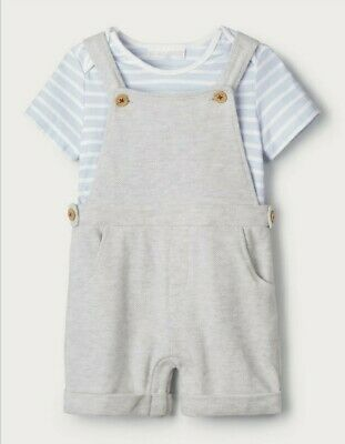 The Little White Company Boys Dungaree & T-Shirt Set Age 9-12 Months