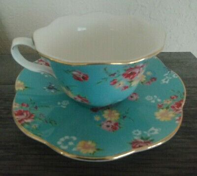 FINE CHINA Tea Cup and Saucer SHABBY ROSE Turquoise Porcelain Scalloped Gold