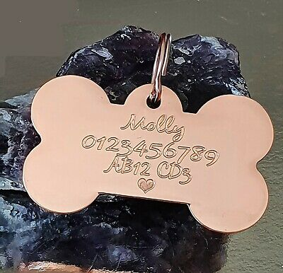 Rose Gold Double Side Engraved Thick Bone Name  Personalised Pet Dog Cat Tag