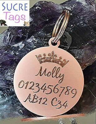 Rose Gold Double Side Engraved Thick Round Disc Personalised Pet Dog Cat Tag