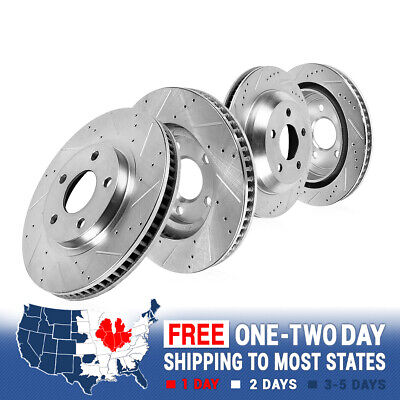FRONT & REAR Drilled Slotted Brake Rotors For 2011 - 2014 Ford Mustang 5.0