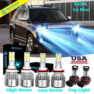 For GMC Terrain 2010-2015 Combo Blue LED Headlight Hi/Low Beans & Fog Light Bulb