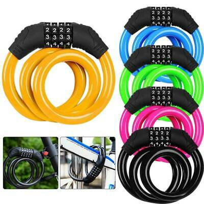 4 Digit Combination Code Anti Theft Bicycle Cable Lock Mountain Bike Security
