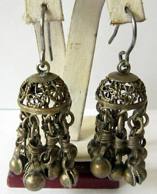 AMAZING BIZANTINE OR MEDIEVAL 9th.-16th.c.SILVER EARRINGS w/ FILIGREE # 59C