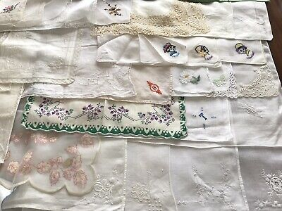 Vintage Lot 46 Mixed Embroidered Lace Printed Ladies Handkerchiefs