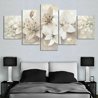 Noble White Lily Flowers Canvas Prints Painting Wall Art Home Decor Picture 5PCS