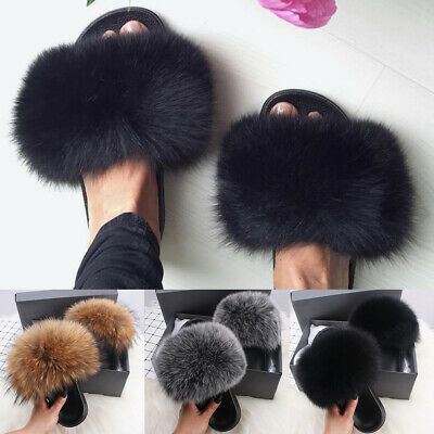 Women's Fluffy Slippers Faux Fox Fur Slides Fuzzy Furry Sandals Holiday Shoes