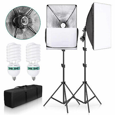 2x135W Photography Softbox Studio Continuous Video Lighting Soft Box Stand Kit