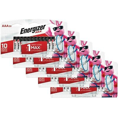 Lot of 100 Energizer Max AAA Alkaline Battery (20 Batteries/Pk Total 5 Pks) 2029