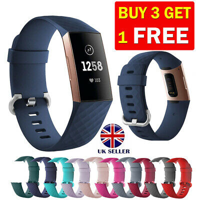 For Fitbit Charge 3 4 Strap Replacement Wristband Metal Buckle Small Large UK