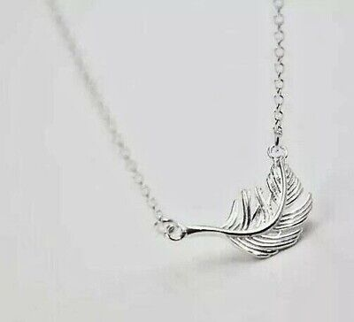 ANGEL WING Feather-pendant//necklace-Solid sterling silver 925-Chain op-3.5g-33mm