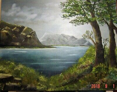 Original Oil Painting Landscape 16X20 Stretched Canvas Mountain Scene