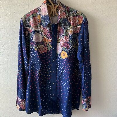 Rare Vintage 60s 70s Western Pearl Snap Shirt L Rodeo Cowboy Rockabilly Floral