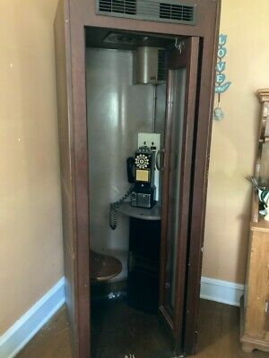 Antique Western Electric Pay Telephone Booth Model 11D - Month / Year 9-1955