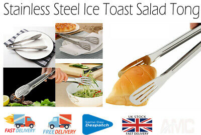 Stainless Steel Salad Tong and  Ice Toast  Kitchen Food Clip 9 Inch + Uk Seller