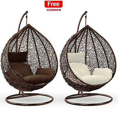 Hanging Egg Chair Rattan Outdoor Indoor Patio Garden Swing Chairs With Cushion 188 59 Picclick Uk