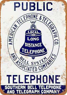 10x14 Metal Sign - Public Phone Southern Bell Telephone - Rusty Look Reproductio