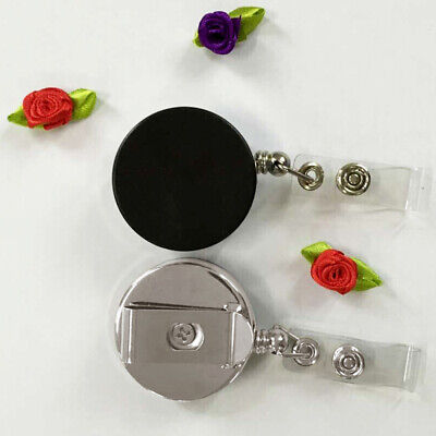 Retractable Pull Chain Reel ID Card Badge Keychain Holder Recoil Belt Clip A8A