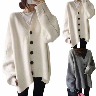 Women Loose Baggy Knit Sweater Coat Ladies Open Front Buttons Cardigan Outwear