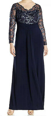 Women's Formal Dress Plus Size 16W MARINA Long Sleeves Evening Gown Navy Blue