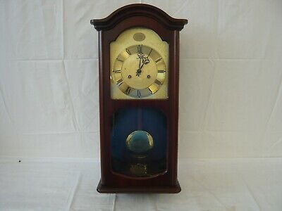 AMS Wall Clock In Flame Mahogany With Chime And Key