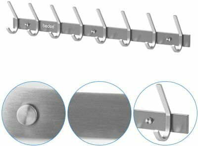 Wall Mounted Heavy Duty Coat Hook 8 Dual Door Hangers Stainless Steel Solid Rack