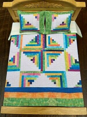 Miniature dollhouse Bedspread Comforter blanket with 2 Pillows 1:12 scale #C71