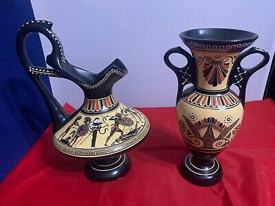 Vintage D Vassilopoulos Hand-Made Greek Pottery vase & Ewer No. 216 & 239b