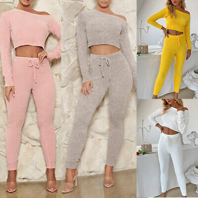 Justchicc Knitted Tracksuit Two Piece Set Women Solid Sweater  +  Pants Outfits