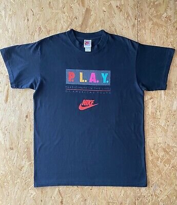90s Vintage / MADE in USA / Nike Air P.L.A.Y. T-Shirt Sz Large Spell Out Swoosh