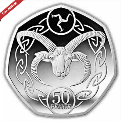 Unc 2020 LOAGHTAN RAM Sheep Isle of Man IOM Manx 50p Fifty pence from sealed bag