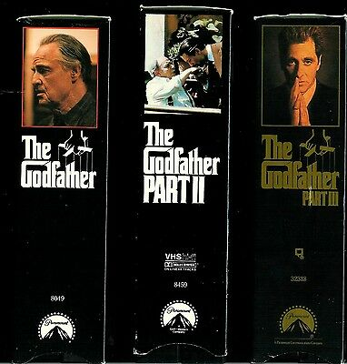The Godfather Triology  * Six ( 6 ) Vhs Complete Set * Brando/Pacino/Caan/Garcia