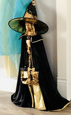 Witch Costume Black Velvet and Gold Cape, Witch Hat and Purse