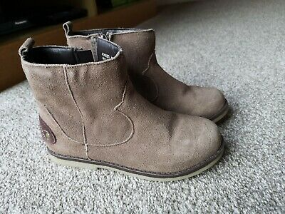 """V by Very /""""Patty/"""" Girl/'s Faux Fur Simulated Suede Brown Ankle Boots UK 6 Eur 23"""