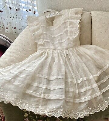 Beautiful Vintage Ruffled, Sheer Organdy, Embroidered Pinafore Dress size 4 or 5