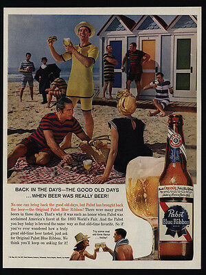 1952 PABST BLUE RIBBON BEER on sandy beach Vintage Look REPLICA METAL SIGN