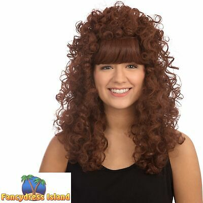 1980's LONG GINGER CURLY BUDGET WIG Ladies Womens Fancy Dress Costume Accessory