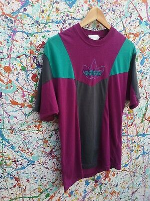 Vintage RARE 90s adidas Tshirt Tee Purple Turquoise Small Medium