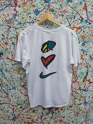 Vintage 90s Nike Air Peace Love Swoosh Tshirt Tee Medium Spellout RARE