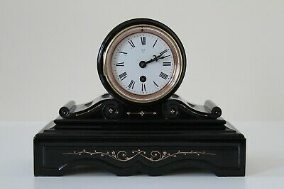 Eye catching French Slate and Marble Mantel Clock, a stunning example; c1880