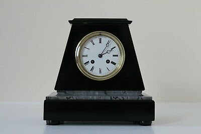 A Sophisticated French Black Slate & Marble Mantel Clock c1880