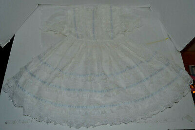 Vintage Martha's Miniatures We're Fussy White & Blue Girl's Girls Dress Size 6X