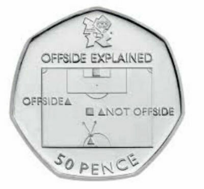 Rare 2012 London Olympics Football Offside 50p Coin 2011 Collectable Circulated