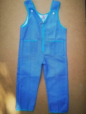 """70s Tomship Vintage Cotton 30"""" Dungarees Overalls Romper Suit Deadstock new"""