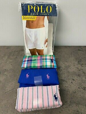 NEW Polo Ralph Lauren Mens M-XL Woven Boxers 3 Pack Blue Pink Plaid Check Pony