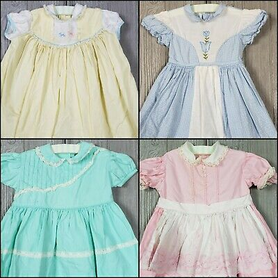 Vintage Baby Cotton Dresses Lot of 4 18-24 Mo? Embroider Lace Ruffle Gingham