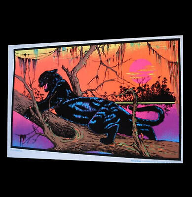 "1973 Rare Vintage Blacklight Animal Panther Poster ""Jungle Cat"" Aa Sales Pinup"