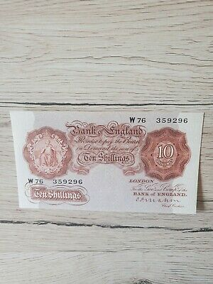 The Bank Of England 10 Shilling Note Mahon, Near Mint Condition.