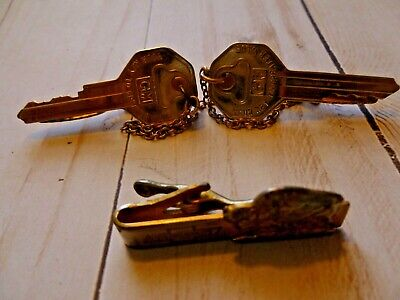 Vintage GM Sweater Clips  ~ Key Shaped Gold Tone Metal GM Sweater Clasp ~ General Motors Key Sweater Guard ~ Gift for Car Enthusiast